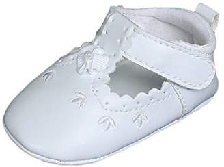 Little Things Mean a Lot Baby Girls All Faux Leather Mary Jane Crib Shoe with Perforation Accents - 2