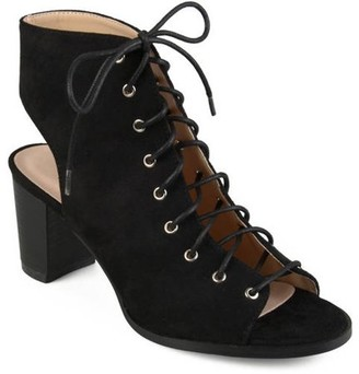 Co Brinley Womens Faux Suede Lace-up High Heel Booties