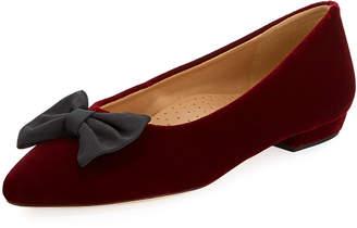 Neiman Marcus Gervin Velvet Flat w/ Bow, Raspberry Red