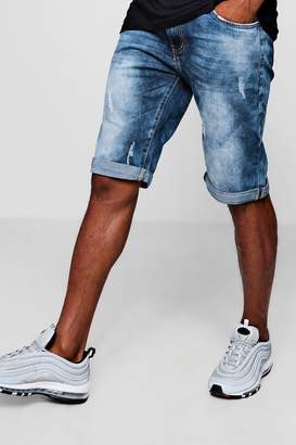 boohoo Skinny Fit Denim Shorts With Turn Up