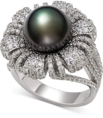 Belle de Mer Cultured Black Tahitian Pearl (9mm) & Cubic Zirconia Flower Statement Ring in Sterling Silver