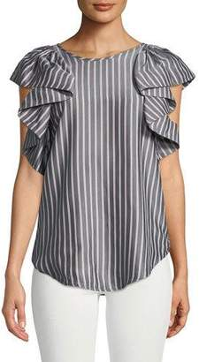 See by Chloe Striped Flutter-Sleeve Top