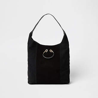 River Island Black leather metal ring slouch bag
