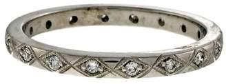 Art Deco Platinum with 0.25ct Diamond Wedding Band Ring Size 6.5