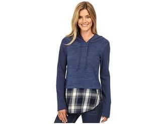 Mod-o-doc Heavenly Jersey Pullover Hoodie w/ Contrast Flannel Hem Women's Sweatshirt