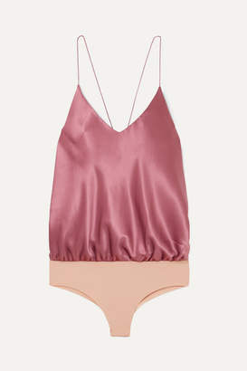 Alix Lewis Silk-charmeuse And Stretch-jersey Thong Bodysuit - Pink
