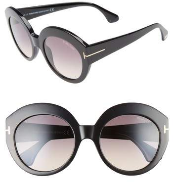 Women's Tom Ford Rachel 54Mm Gradient Lens Sunglasses - Shiny Black/ Gradient Smoke