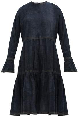 Valentino Tiered Cotton Denim Dress - Womens - Denim