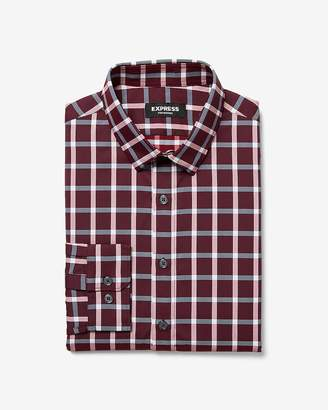 Express Slim Plaid Wrinkle-Resistant Performance Button-Down Dress Shirt