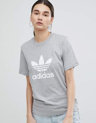 adidas Trefoil Oversized T-Shirt In Grey