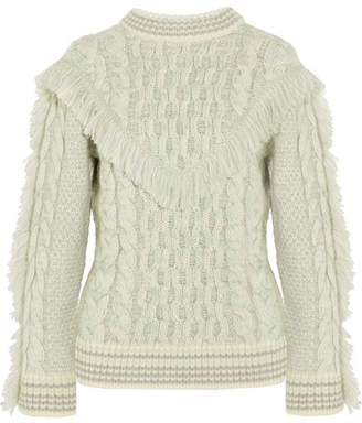 Alanui - Fringed Cable-knit Cashmere Sweater - White