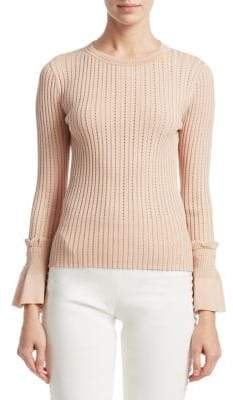 Jonathan Simkhai Applique Ruffle Sweater
