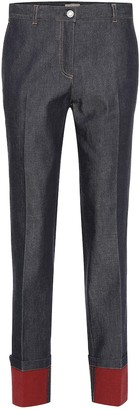 Bottega Veneta Mid-rise leather-trimmed straight jeans
