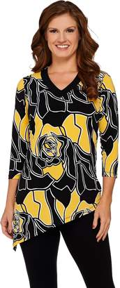 Susan Graver Printed Liquid Knit V-Neck Top with Asymmetric Hem