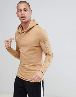 BEIGE ASOS DESIGN muscle longline hoodie with MA1 pocket and curved hem in