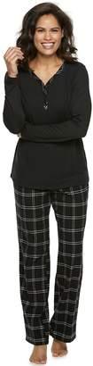 Croft & Barrow Petite Knit & Flannel Henley Pajama Set