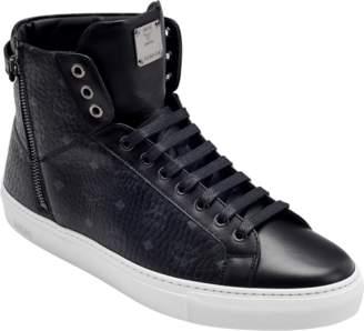 MCM Men's High Top Turnlock Sneakers In Visetos