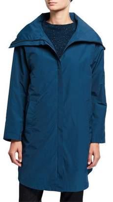 Eileen Fisher Petite High-Collar Zip-Front Organic Cotton/Nylon Coat