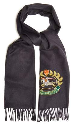 Burberry Logo Crest Embroidered Cashmere Scarf - Womens - Navy