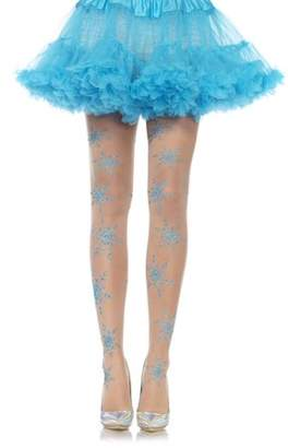 Leg Avenue Women's Let It Snow Spandex Sheer Glitter Snowflake Pantyhose, Nude/Blue, One Size