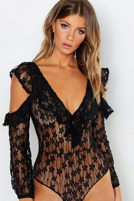 boohoo Lace Cold Shoulder Bodysuit