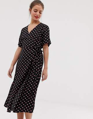 Vila polka dot wrap dress