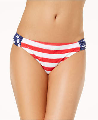 California Waves Juniors' Americana Printed Bikini Bottoms