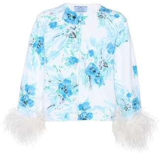 Prada Exclusive to mytheresa.com – feather-trimmed printed mohair and wool cardigan