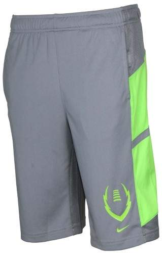 Nike Big Boys' (8-20) Dri-Fit Football Gear Up Training Shorts-Gray/Volt-Large