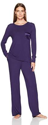 Arabella Women's Long-Sleeve Jersey Pajamas with Satin Pocket