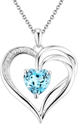 Two Hearts Forever One Sterling Silver Light Blue Topaz & Diamond Accent Heart Pendant