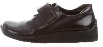 Prada Square-Toe Leather Oxfords