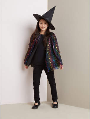 George Halloween Shimmer Star Print Witch Hat and Cape