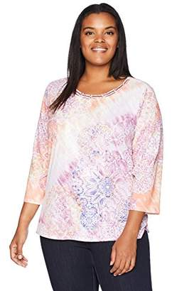 Alfred Dunner Women's Plus-Size Medallion Lace Top