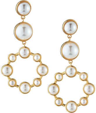 Lydell NYC Pearly Hoop Drop Earrings