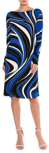 Emilio Pucci Emilio Pucci Marylin Wave-Print Long-Sleeve Dress, Blue/Black