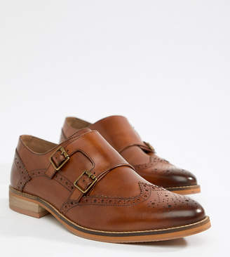 d8ec5c2e94e30 Asos Design DESIGN Wide Fit monk shoes in tan leather with natural sole
