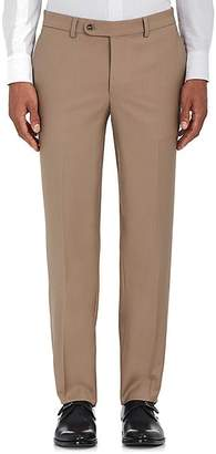 Barneys New York MEN'S VOYAGER WOOL-BLEND FLAT-FRONT TROUSERS - BEIGE/TAN SIZE 42