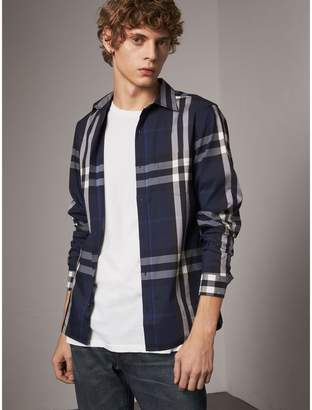 Burberry Check Stretch Cotton Shirt , Size: XS, Blue
