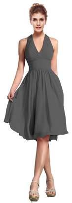Judy Ellen Women Halter Neck Knee Length Party Dress Evening Gown J200LF US