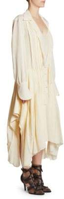 Chloé Silk Deep V-Neck Chiffon A-Line Shirt Dress