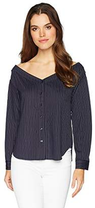 Kensie Women's Soft Pin Stripe Off The Shoulder Top
