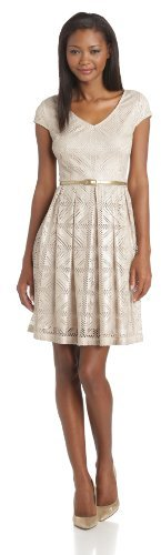 London Times Women's Cap-Sleeve V-Neck A-Line Dress