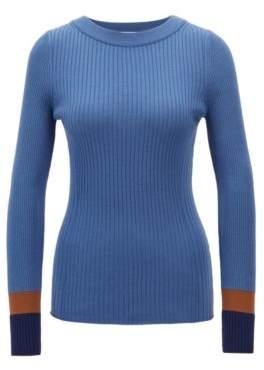 BOSS Hugo Slim-fit sweater in virgin wool colorblock cuffs L Patterned