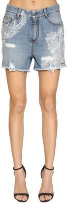 Ermanno Scervino Washed Cotton Denim Shorts W/ Lace