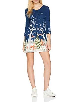 Joe Browns Women's Feeling Festive Tunic Long Sleeve Top, (Blue Multi (Size:)
