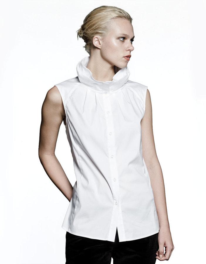 LAFAYETTE 148 NEW YORK Annalyse Sleeveless Stretch Cotton Blouse