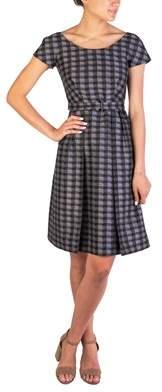 Prada Women's Wool Silk Blend Checkered Dress Grey.
