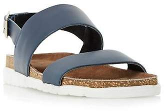 Dune Mens ICE POP Double Strap White Sole Sandal in Navy Size UK 10