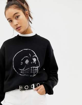 Cheap Monday faded skull sweatshirt with organic cotton